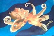 Octopus poslikava detail stol